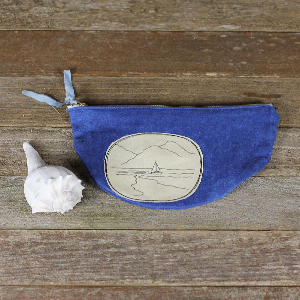 wide plant dyed zipper pouch: sailboat