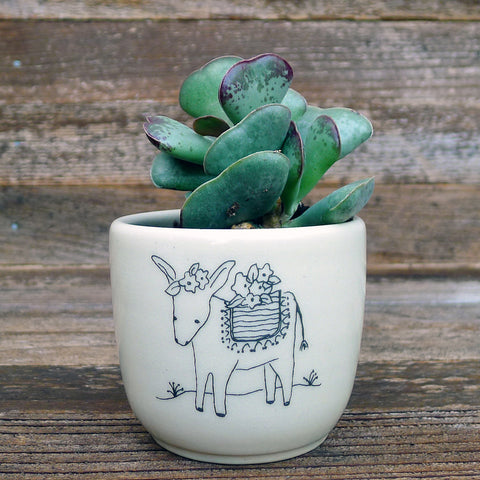 cup or planter: festive donkey