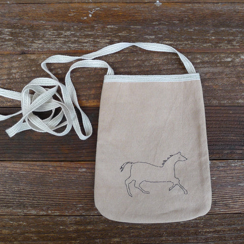 pocket purse: horse on khaki