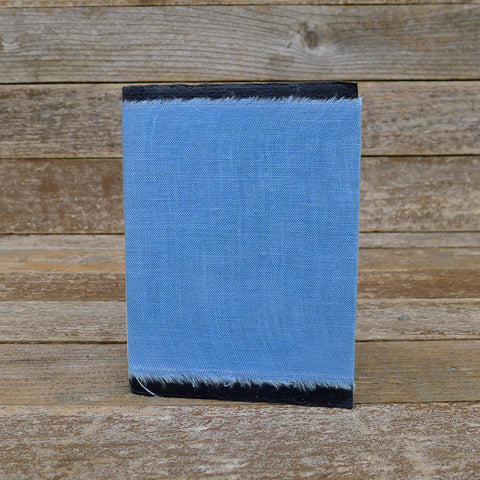 small raw edge linen notebook: blue