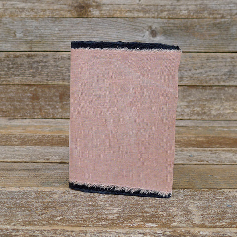 small raw edge linen notebook: dusty rose