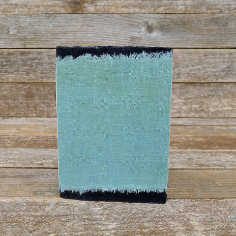 small raw edge linen notebook: green