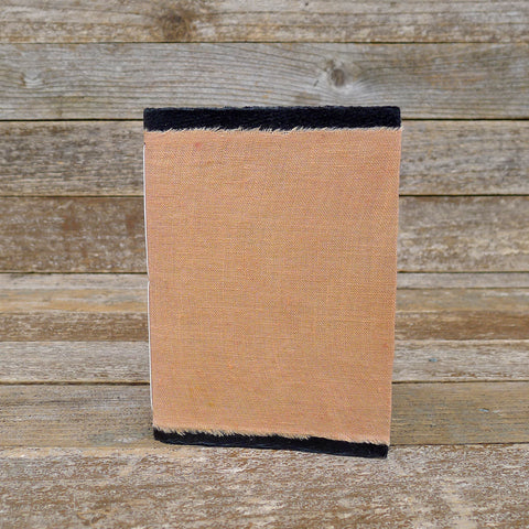small raw edge linen notebook: orange