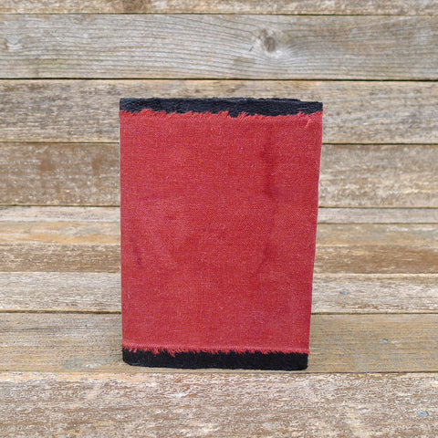 small raw edge linen notebook: red