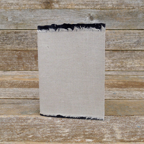 small raw edge linen notebook: walnut