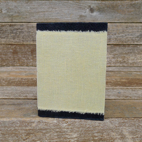 small raw edge linen notebook: yellow