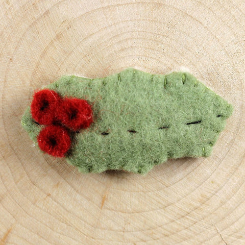 seasonal hair clip: holly leaf with berries
