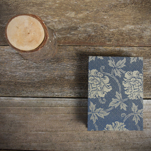 small hand-bound journal: Japanese book cloth blue/taupe