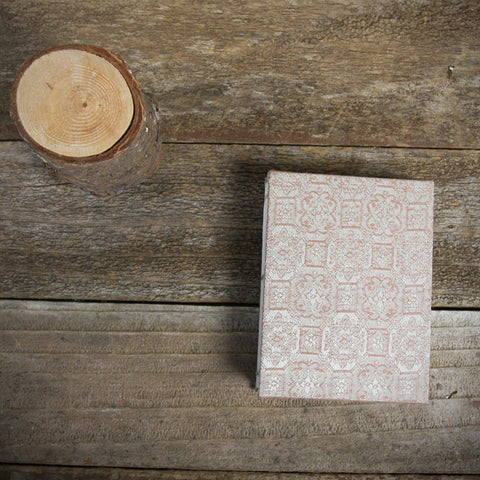 small hand-bound journal: Japanese book cloth silver/red
