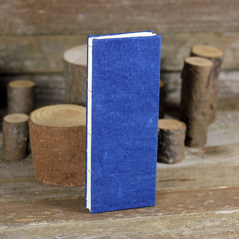 tall and thin hand-bound journal: indigo