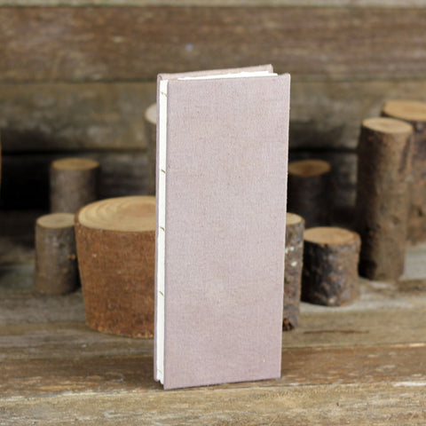 tall and thin hand-bound journal: walnut