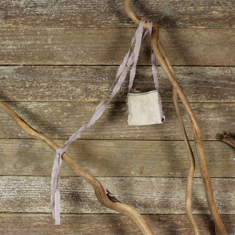 linen treasure pocket with silk strap: lavender brown