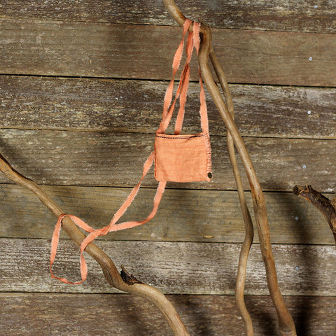linen treasure pocket with silk strap: orange