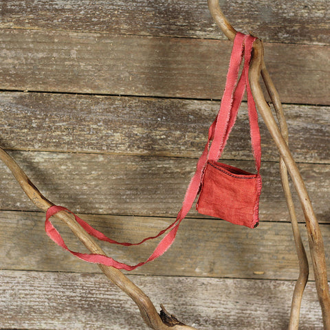linen treasure pocket with silk strap: red