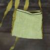 linen treasure pocket with silk strap: yellow