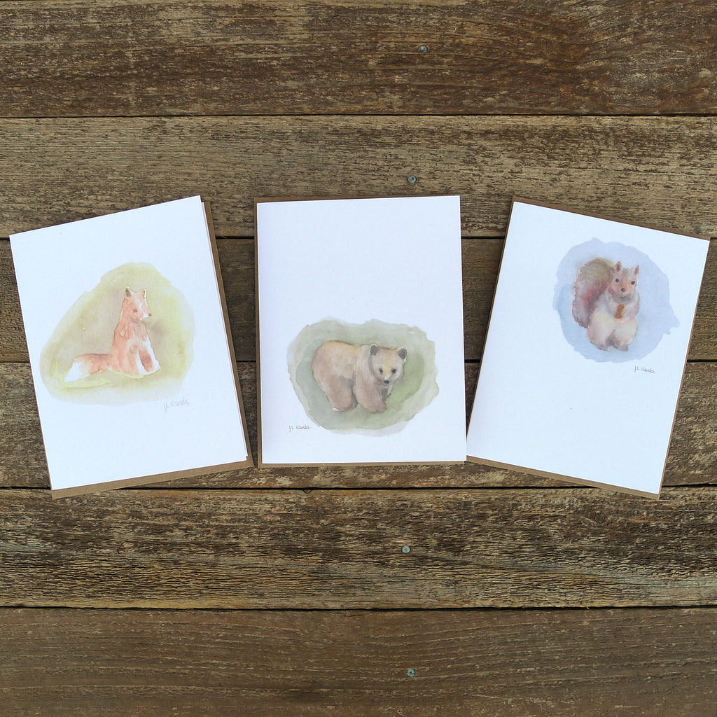 watercolor cards: woodland collection