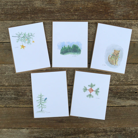 watercolor cards: holiday collection