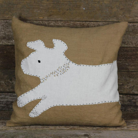 wrap around patch linen pillow: dog