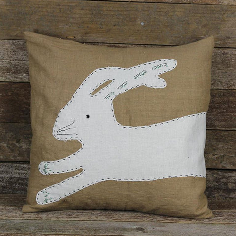 wrap around patch linen pillow: rabbit