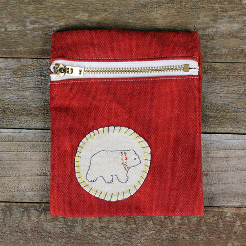 red zipper pouch: bear