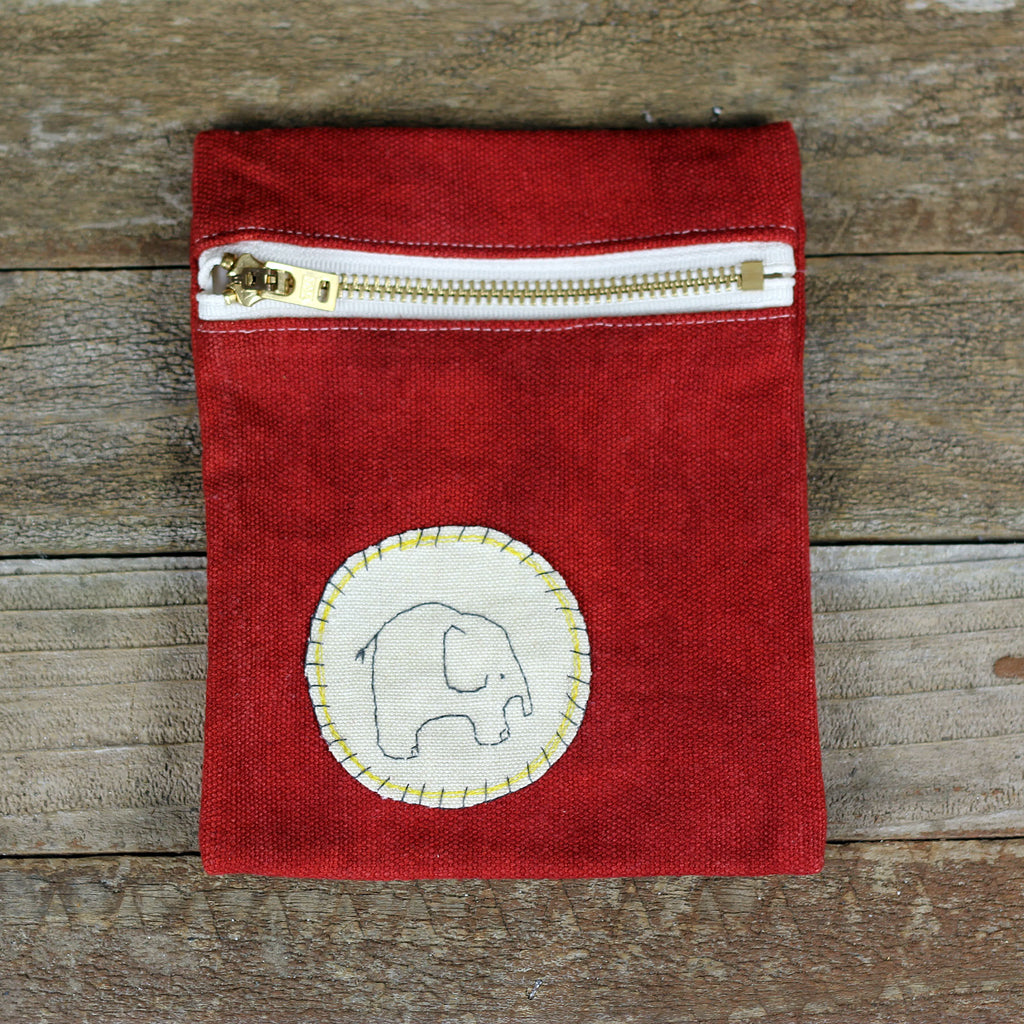red zipper pouch: elephant