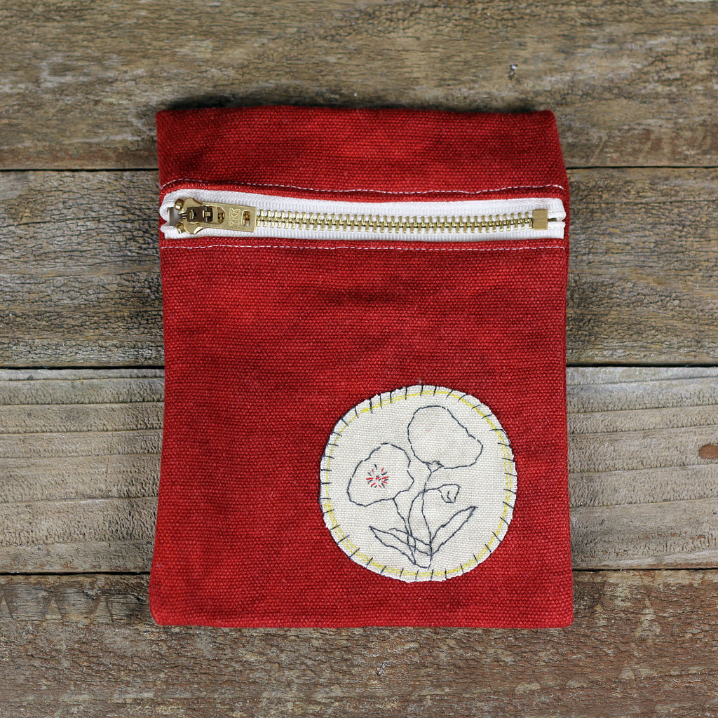 red zipper pouch: poppies
