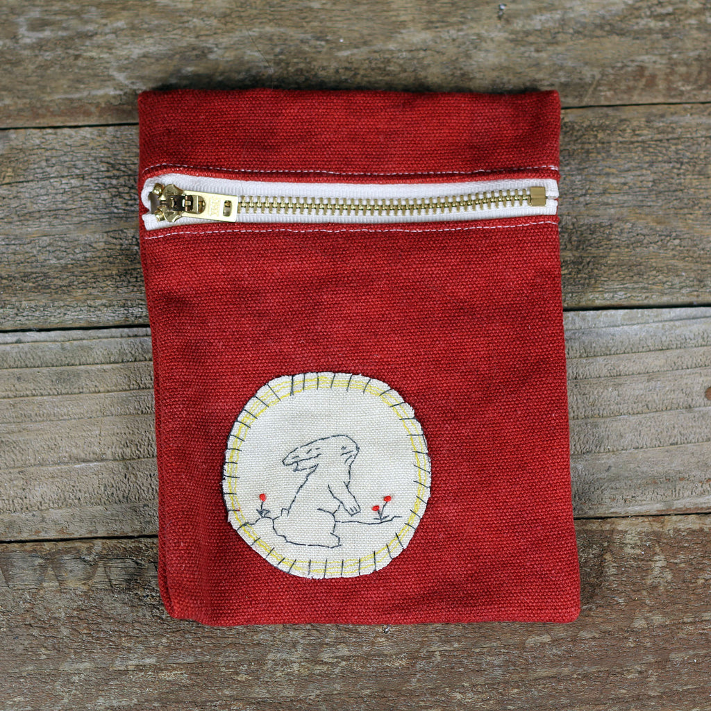 red zipper pouch: rabbit