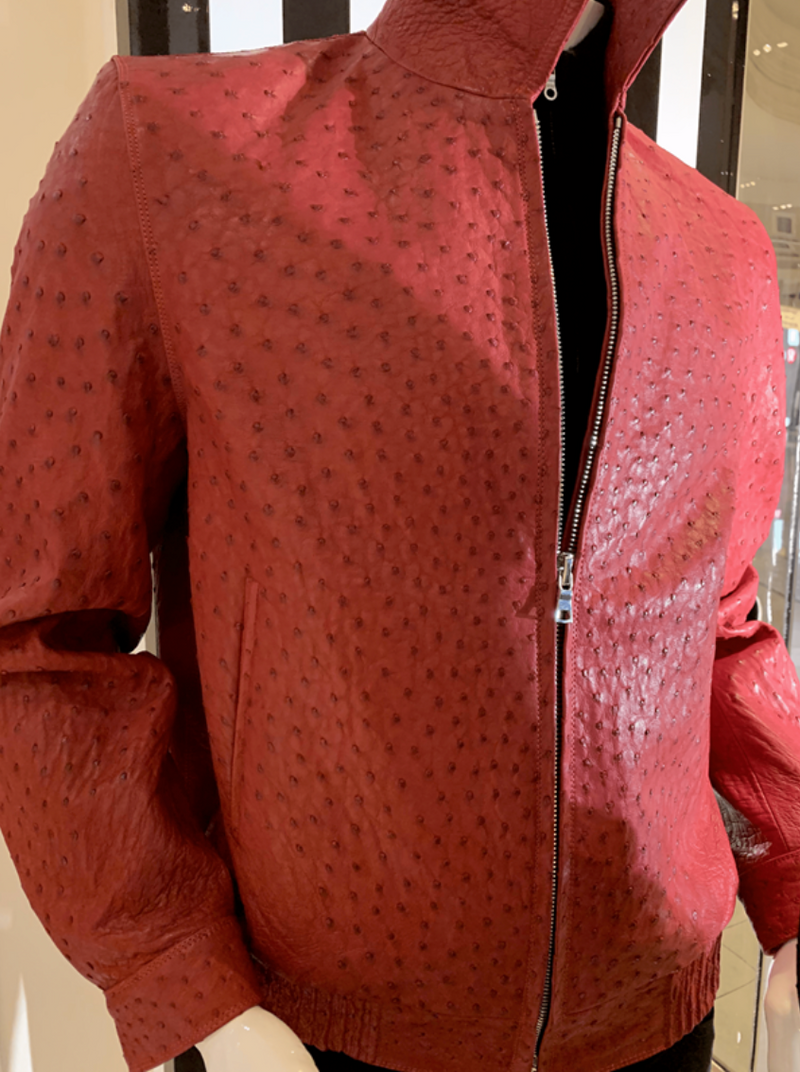 Mens red ostrich jacket