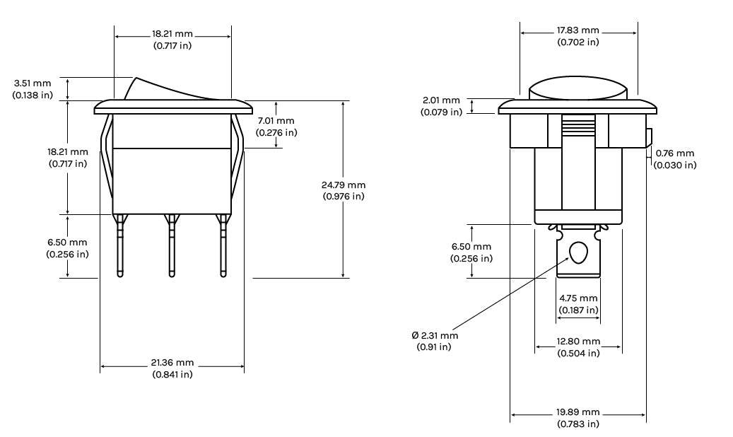Round Rocker Switches Dimensions