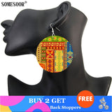 Africa Jewelry Bohemian Wooden Both Printing Round Pendants Black Earrings For Women