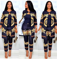Elegant African Sets Print Trousers Tops Pants Suits