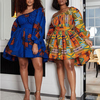 African Dresses Women Sexy Shoulder Off Mini Dress Dashiki Tribal Print Africa Dress Women African Clothes Robe Africaine Femme