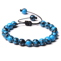 Woven Bracelets Men Natural African Turquois Stone Beads Bracelet Women Vintage Black Rope Adjustable Red Agat Pulsera Jewelry