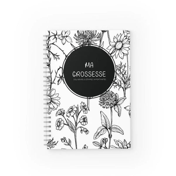 Journal de grossesse - Floral monochrome - Moments ancrés