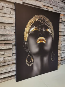 Set tablouri canvas black and gold AFRICAN ART WOMAN