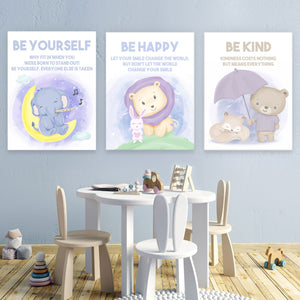 Tablouri canvas insipationale pentru camere de copii DREAM BIG BE HAPPY BE KIND BE BRAVE BE YOURSELF FRIENDSHIP