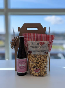 Photo featuring a glass bottle of Modern Soda (Poiply Flavour) and bag of That's Amore Caramel Popcorn
