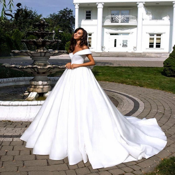 Simple White Satin Wedding Dress Boho Off the Shoulder Satin Backless Bridal Gown Plus Size Wedding Gowns Vestidos De Mariee - Shopiqlo