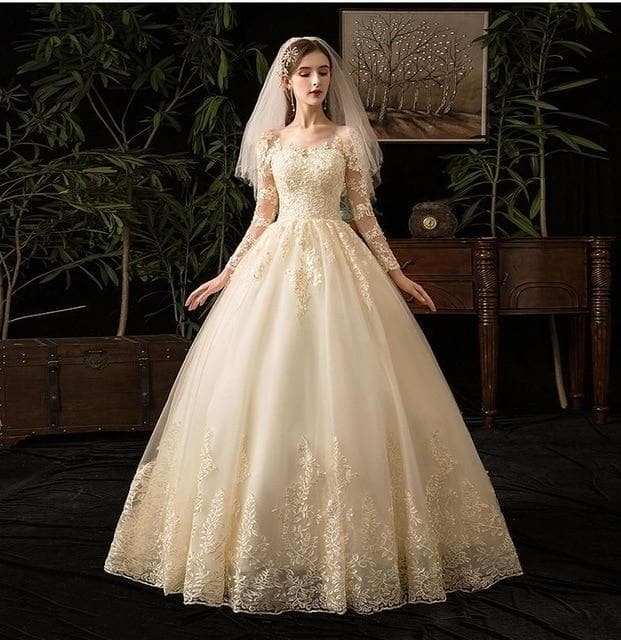 2021 New Vintage O Neck Full Sleeve Wedding Dress Illusion Simple Lace Embroidery Custom Made Bridal Gown Vestido De Noiva L - Shopiqlo