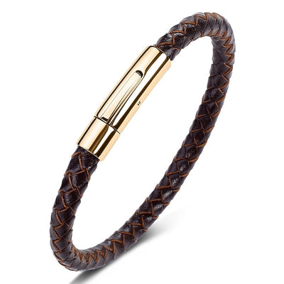 Classic Hand Woven Leather Bracelet Steel Button