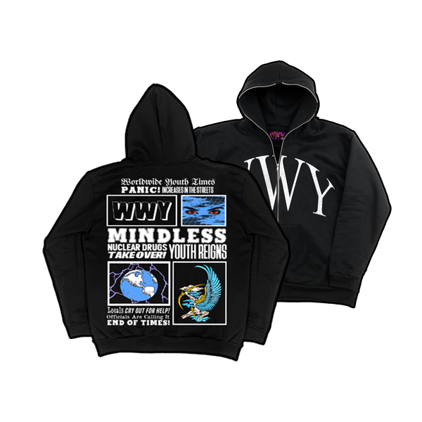 """WWY"" MINDLESS YOUTH FULL-ZIP HOODIE (BLACK)"