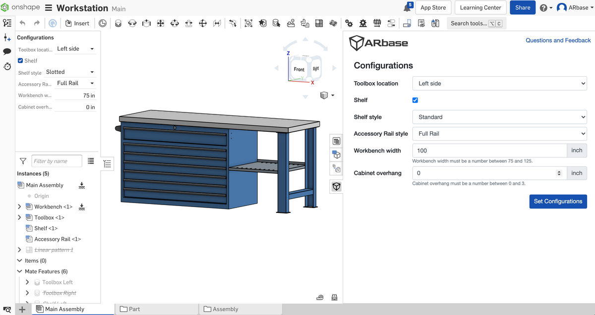 Augmented Reality model created from Onshape Assembly with configurations