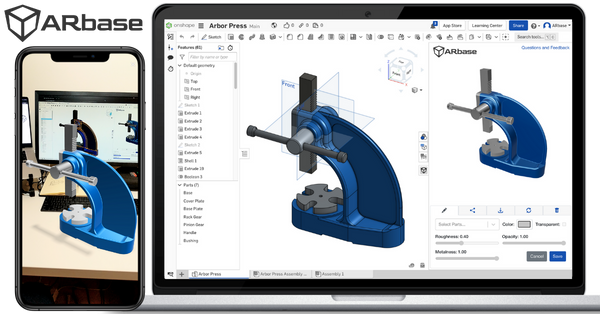 ARbase Augmented Reality app for Onshape