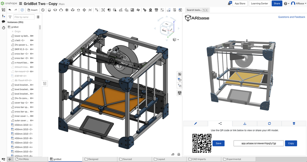 Complex Onshape assembly converted to an Augmented Reality model
