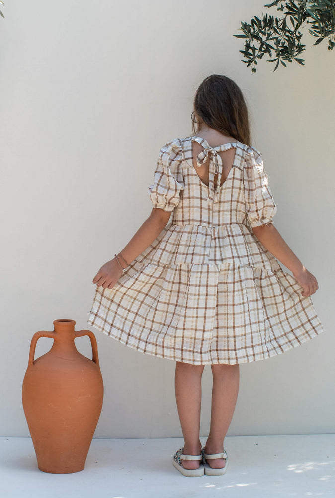 Beige Plaid Dress - Nora
