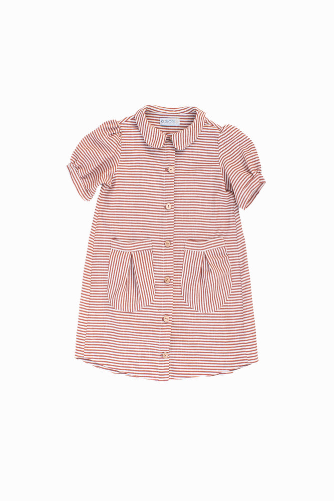 Terracotta Striped Dress - Cherry
