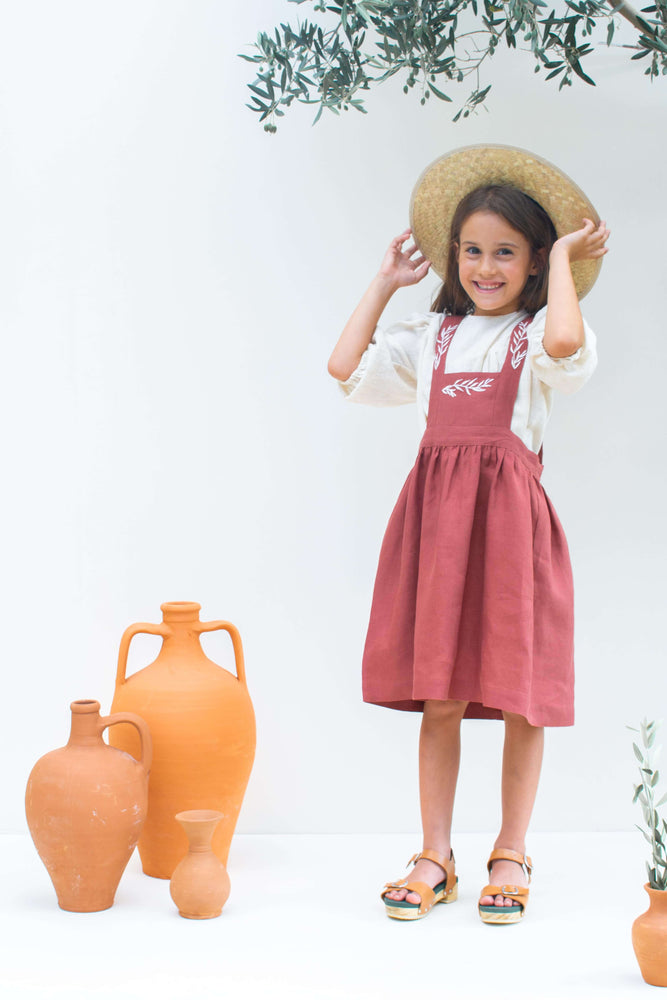 Terracotta Linen  Dress - Sophia