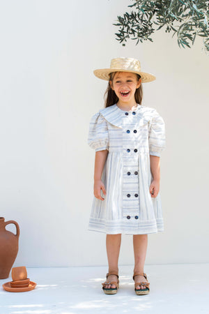 Blue Striped  Cotton Dress - Linda