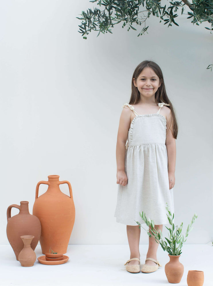 Stone Beige Linen Dress - Apron