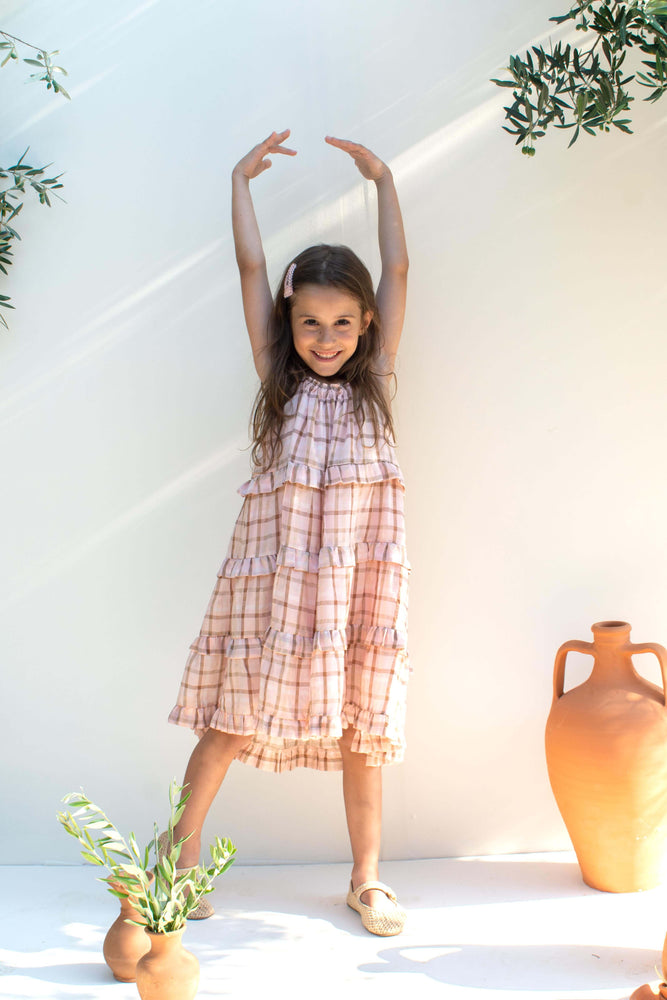 Pink Plaid Dress - Sidra